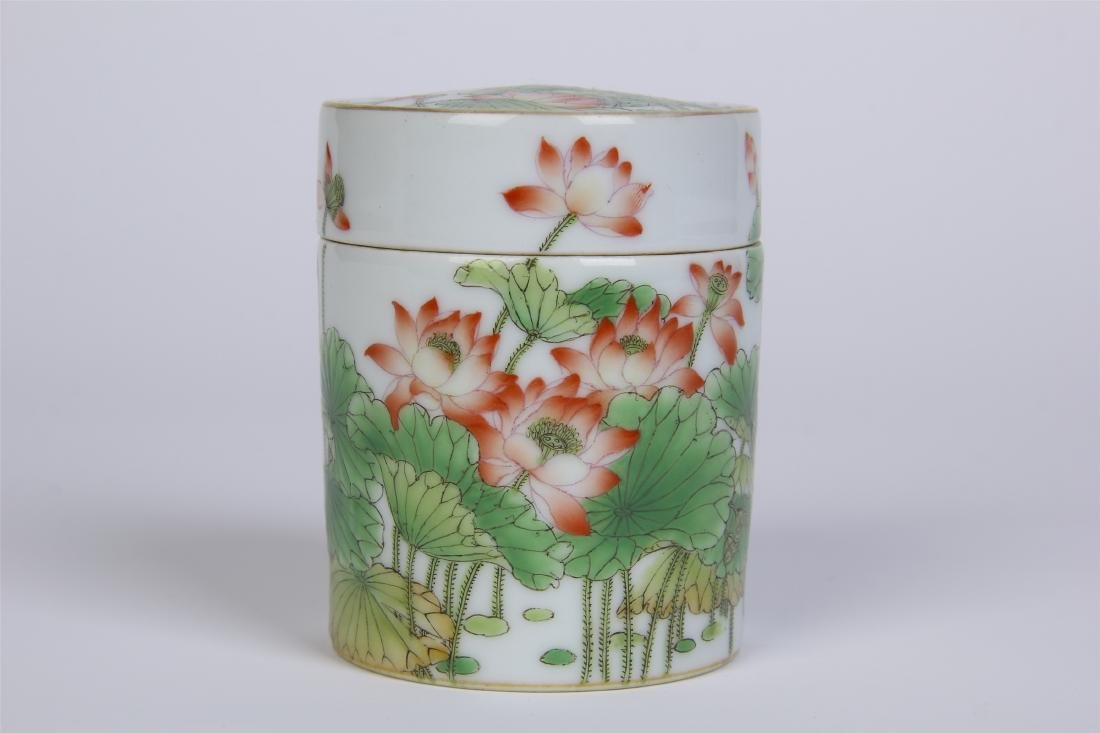 CHINESE PORCELAIN FAMILLE ROSE LOTUS LIDDED CYLINDERIAL - 4