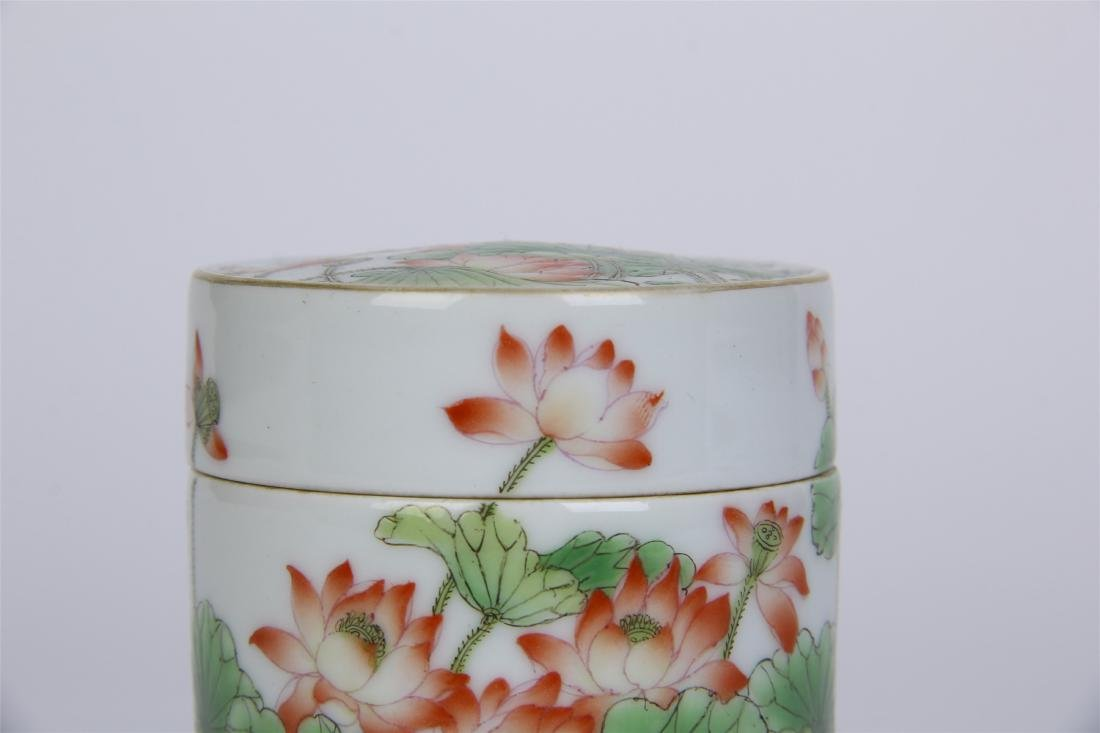 CHINESE PORCELAIN FAMILLE ROSE LOTUS LIDDED CYLINDERIAL - 5