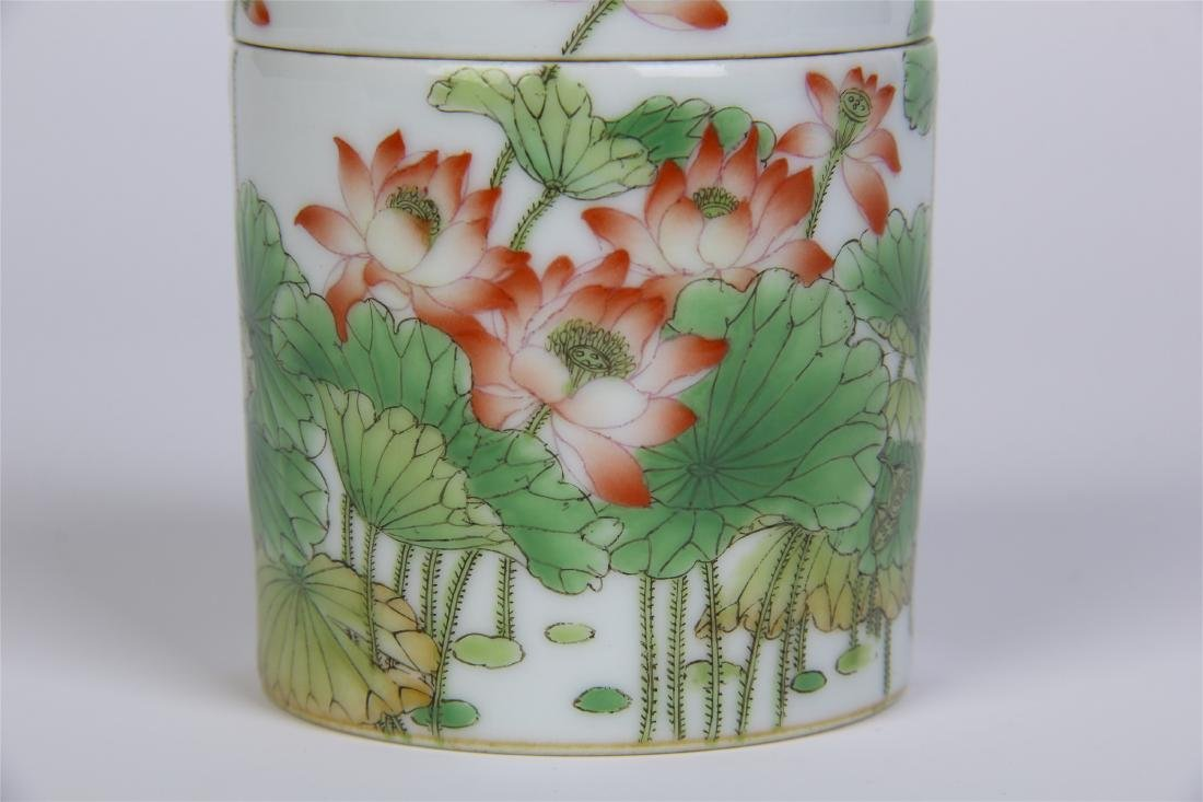 CHINESE PORCELAIN FAMILLE ROSE LOTUS LIDDED CYLINDERIAL - 6