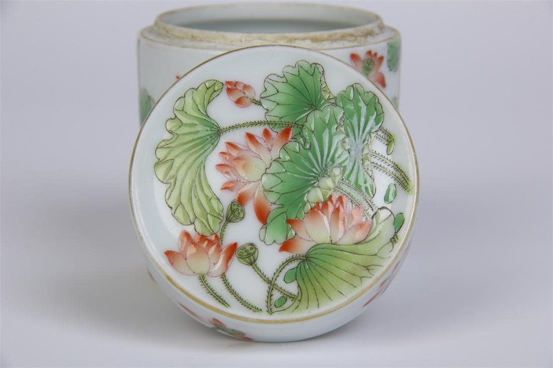 CHINESE PORCELAIN FAMILLE ROSE LOTUS LIDDED CYLINDERIAL - 7