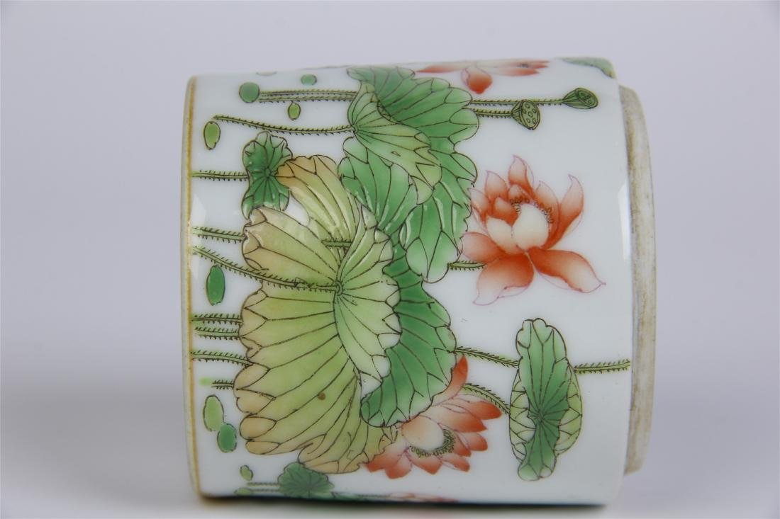 CHINESE PORCELAIN FAMILLE ROSE LOTUS LIDDED CYLINDERIAL - 9