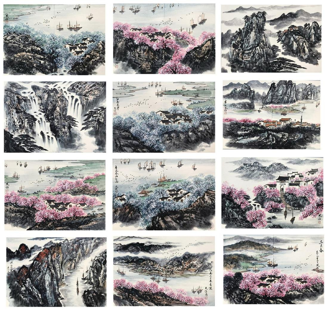 TWEEVLE PAGES OF CHINESE ALBUM PAINTING OF MOUNTAIN