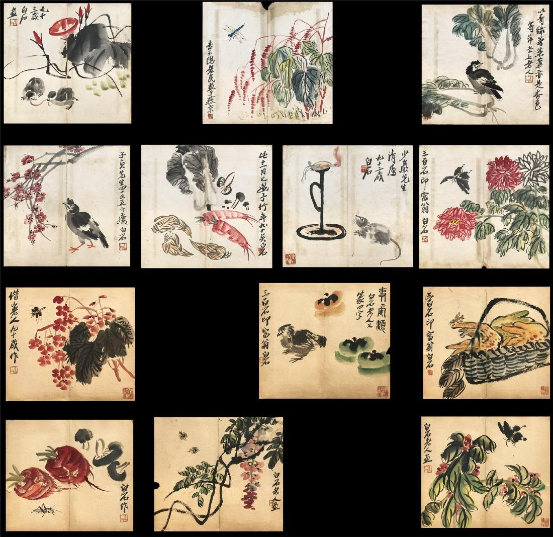 THIRTEEN PAGES OF CHINESE ALBUM PAINTING OF BIRD AND