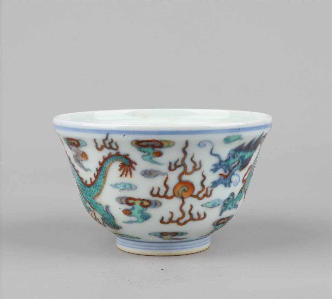 CHINESE PORCELAIN DOUCAI DRAGON BOWL - 2