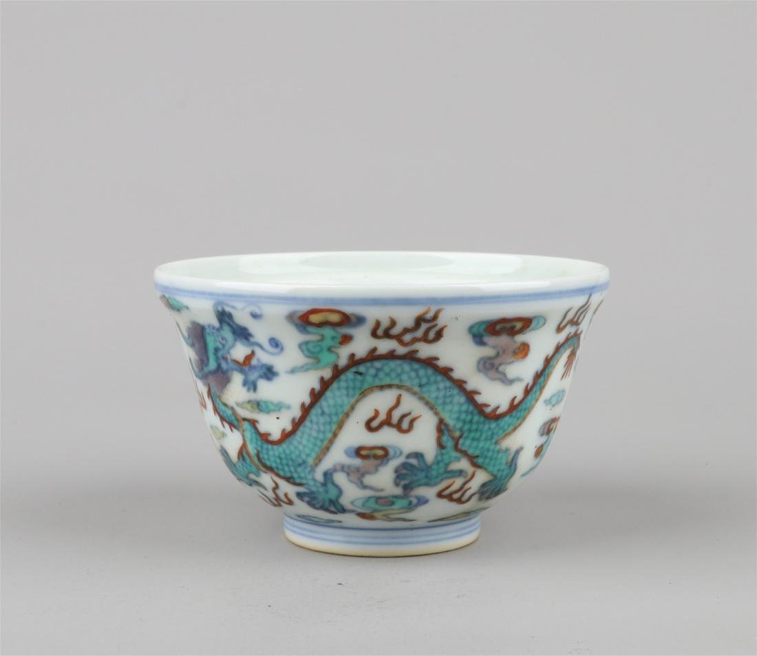 CHINESE PORCELAIN DOUCAI DRAGON BOWL - 3