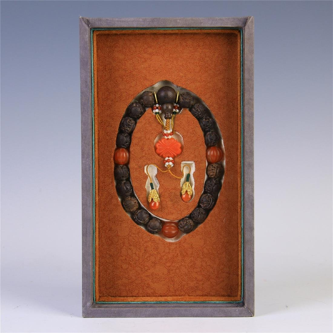 CHINESE AGALWOOD AGATE BEAD BUDDHIST BRACELET