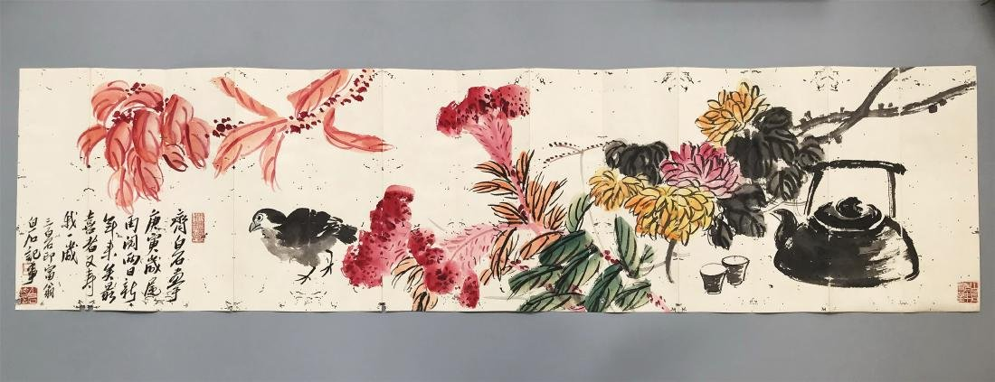 CHINESE SCROLL UNMOUNTED PAINTING OF BIRD AND FLOWER - 4