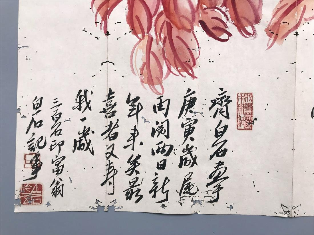 CHINESE SCROLL UNMOUNTED PAINTING OF BIRD AND FLOWER - 5