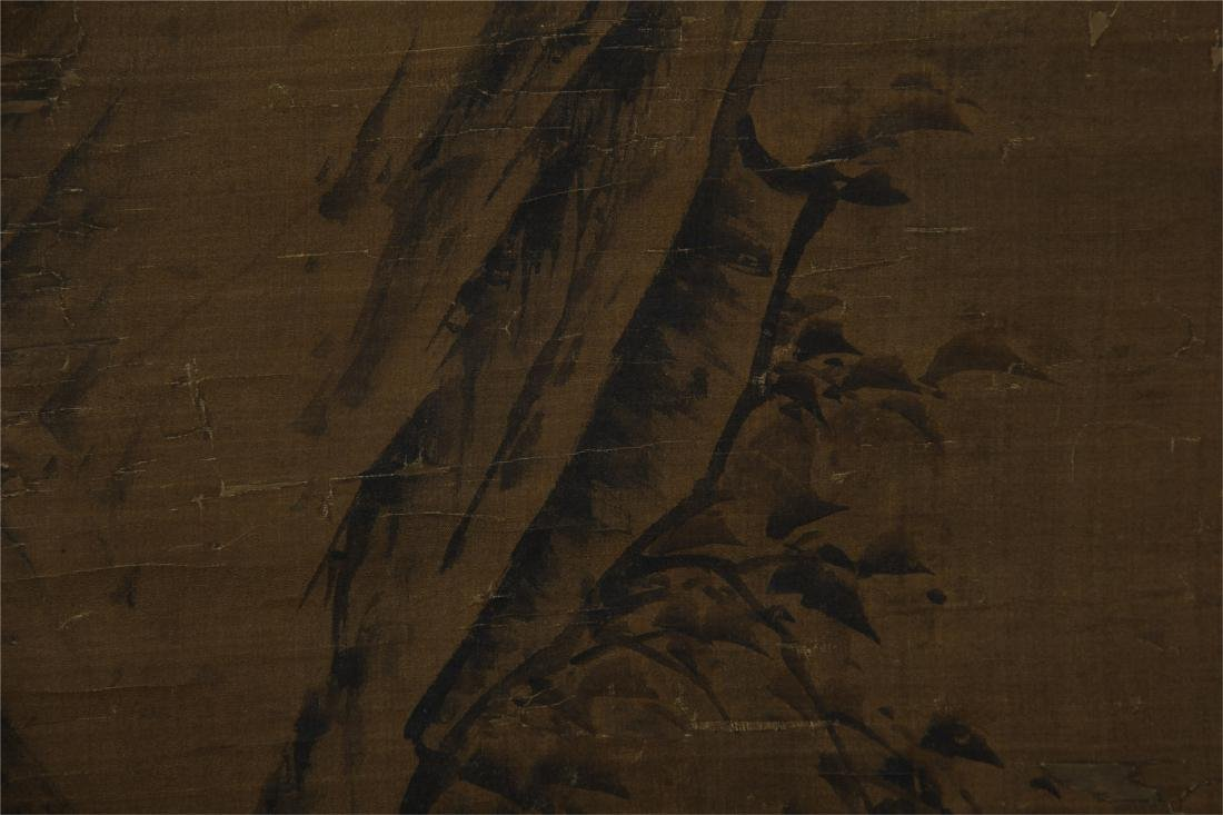 CHINESE SCROLL PAINTING OF BIRD ON ROCK - 2