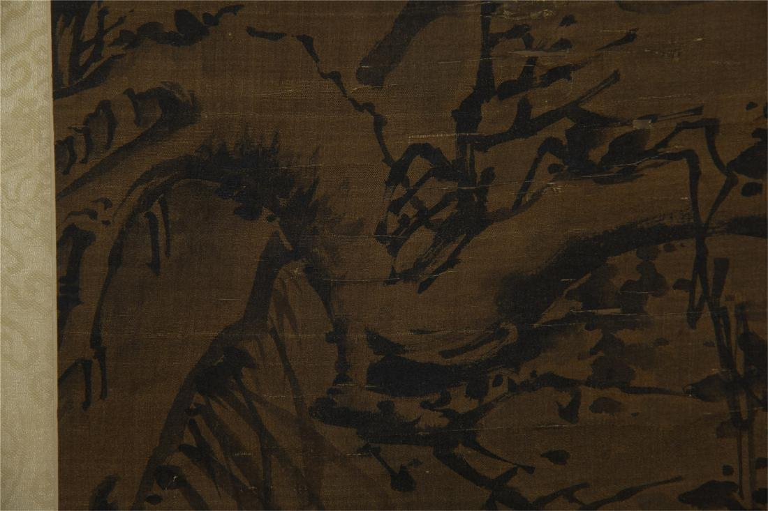 CHINESE SCROLL PAINTING OF BIRD ON ROCK - 4