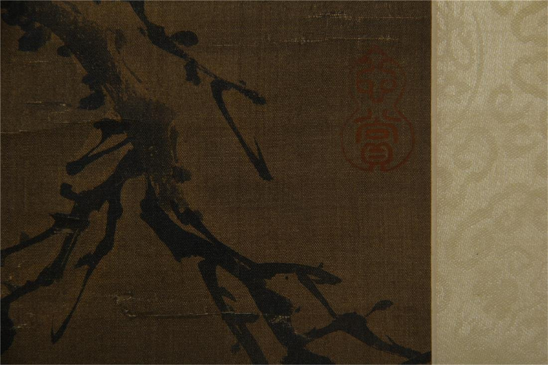 CHINESE SCROLL PAINTING OF BIRD ON ROCK - 6