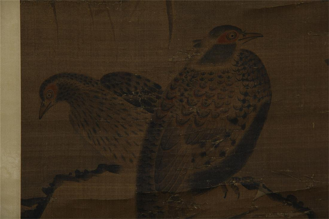 CHINESE SCROLL PAINTING OF BIRD ON ROCK - 7