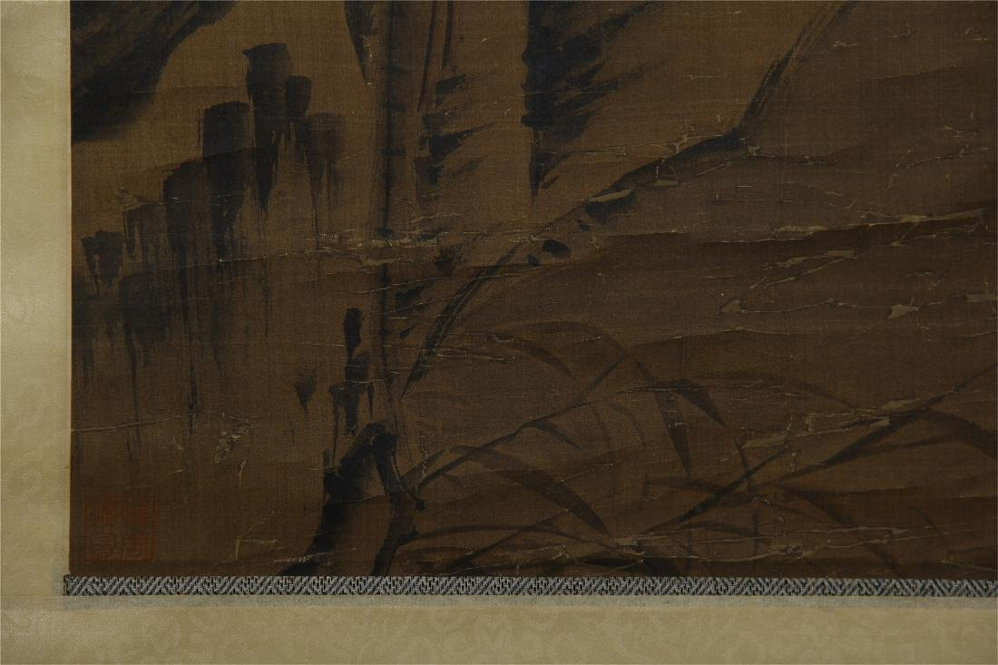 CHINESE SCROLL PAINTING OF BIRD ON ROCK - 8