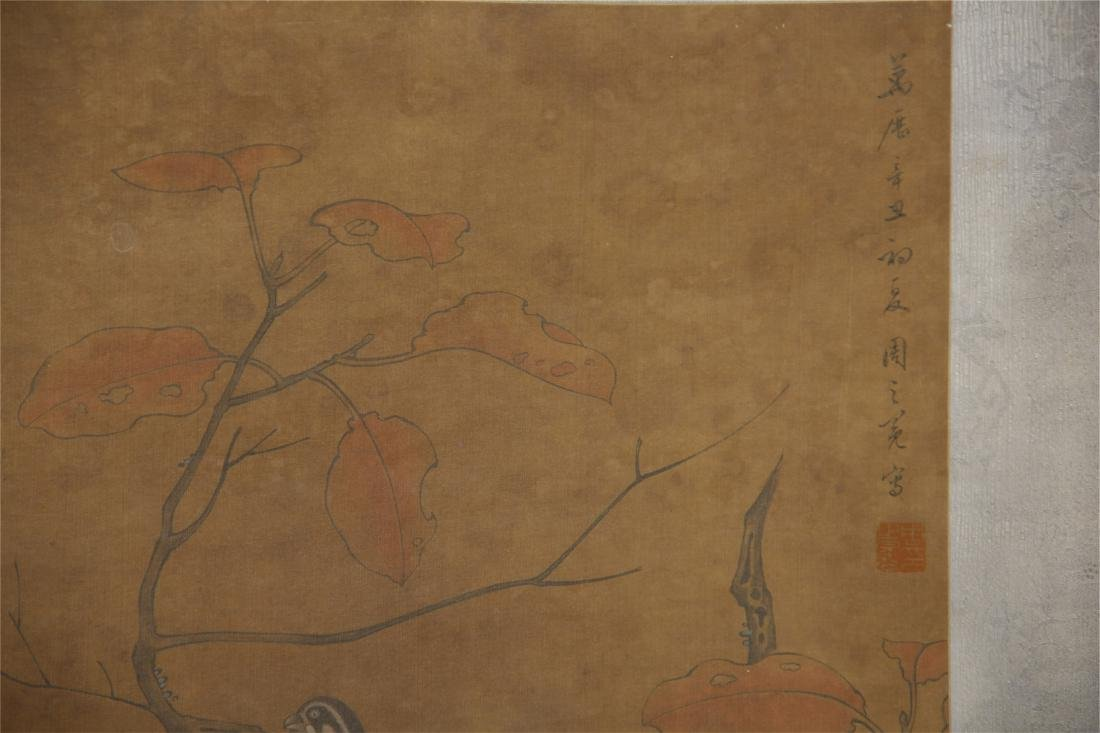 CHINESE SCROLL PAINTING OF BIRDS ON TREE - 2