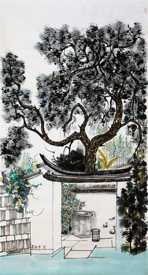 CHINESE SCROLL PAINTING OF GARDEN VIEWS