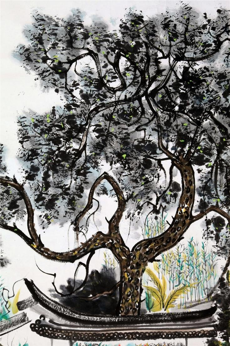 CHINESE SCROLL PAINTING OF GARDEN VIEWS - 2