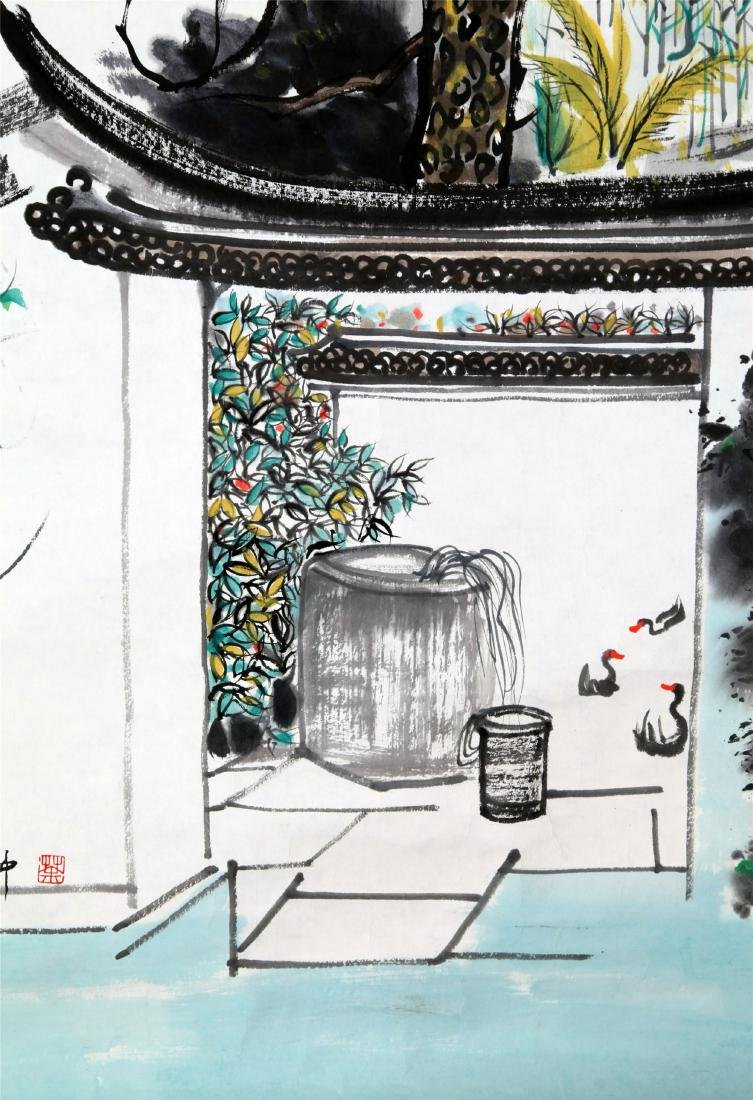 CHINESE SCROLL PAINTING OF GARDEN VIEWS - 3