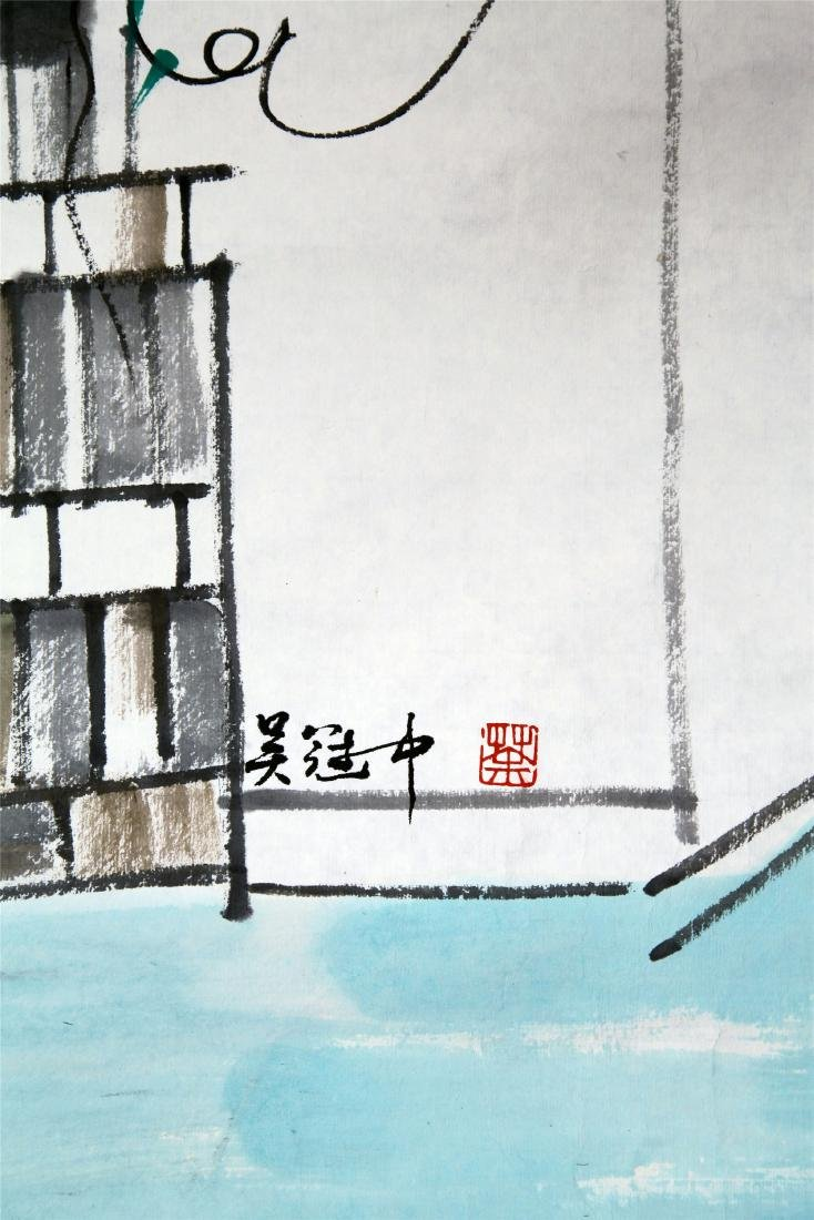 CHINESE SCROLL PAINTING OF GARDEN VIEWS - 6