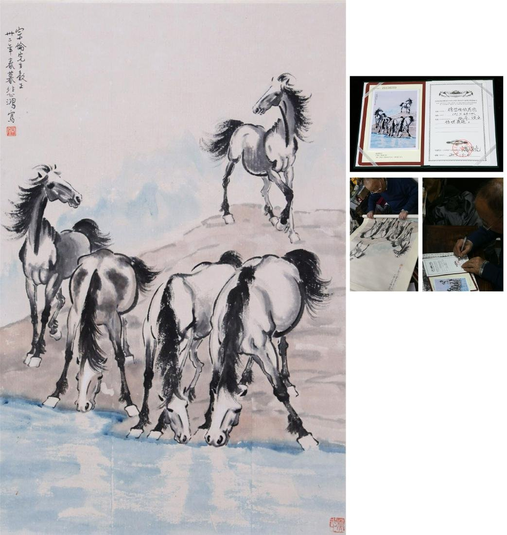 CHINESE SCROLL PAINTING OF HORSE WITH SPECIALIST'S