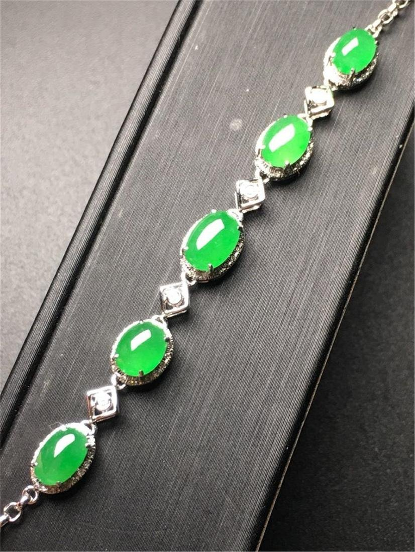 18K GOLD DIAMOND NATURAL JADEITE BRACELET - 2
