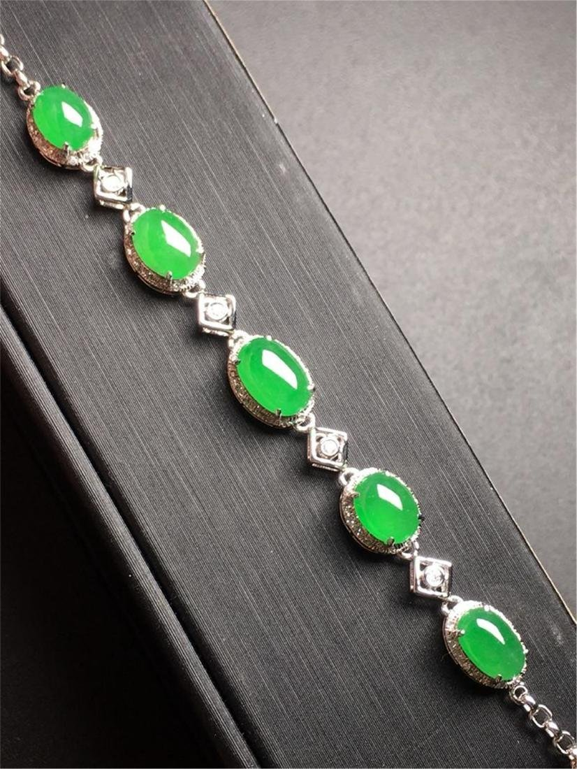 18K GOLD DIAMOND NATURAL JADEITE BRACELET - 4