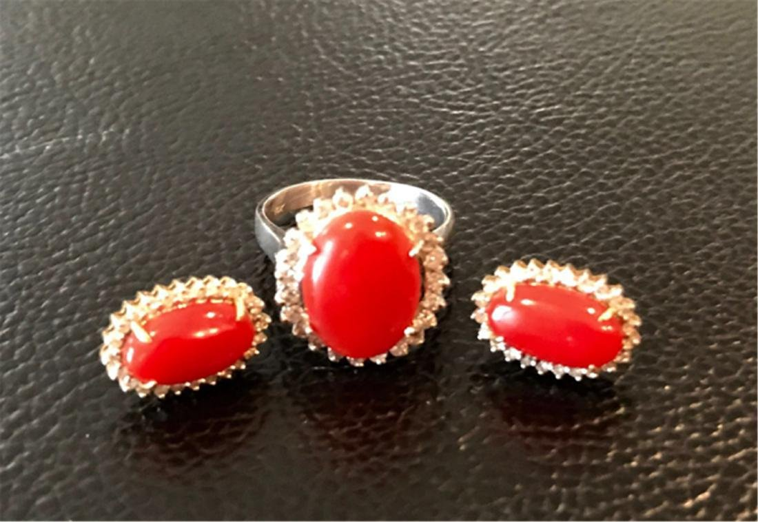 CORAL EARRINGS AND IRNG