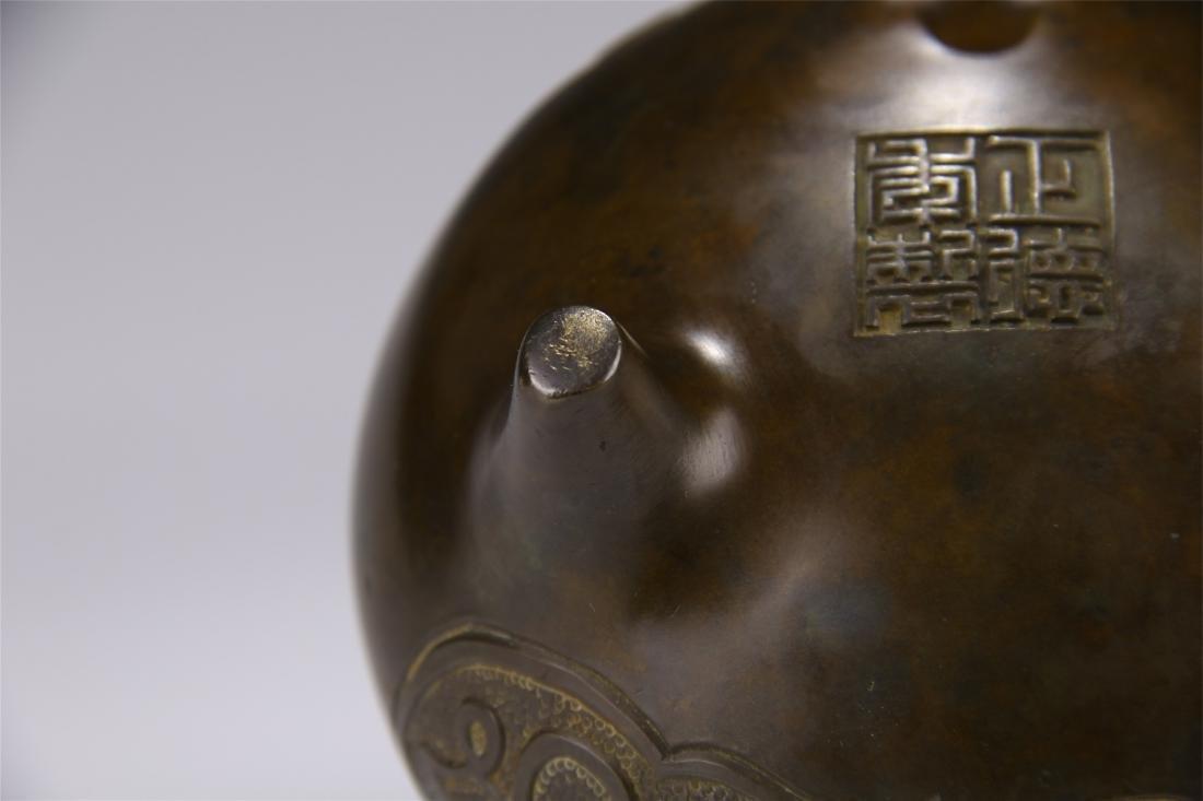 CHINESE BRONZE ARABIC CHARACTER TRIPLE FEET ROUND - 8