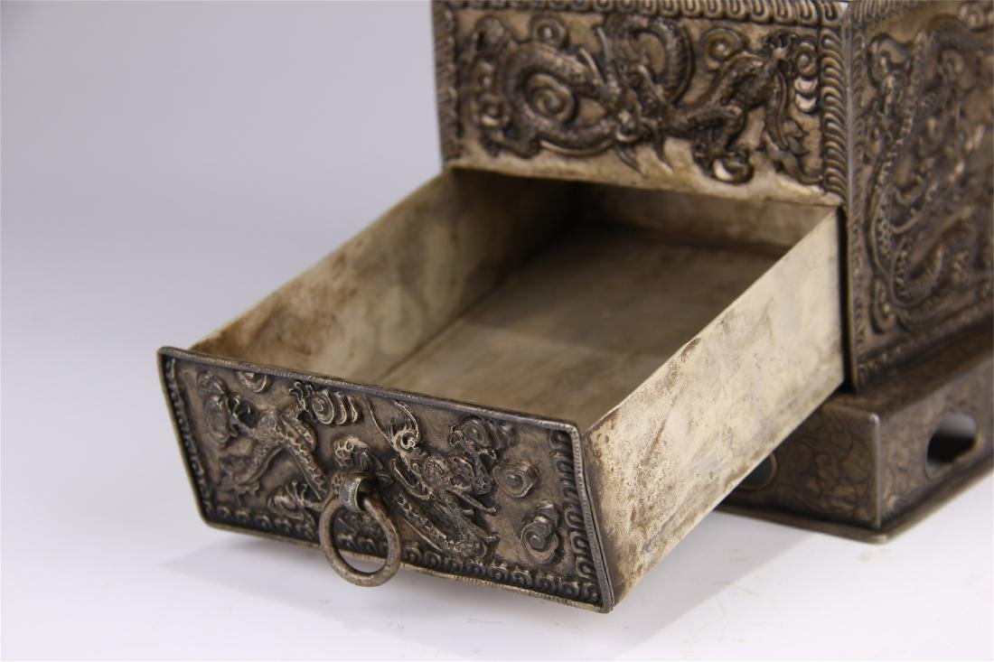 CHINESE SILVER CARVED DRAGON SQUARE INCENSE BOX - 10