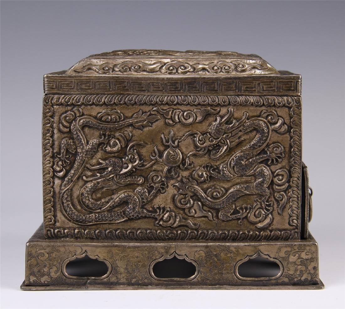 CHINESE SILVER CARVED DRAGON SQUARE INCENSE BOX
