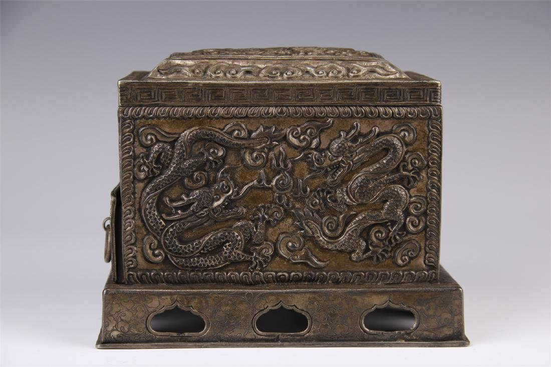 CHINESE SILVER CARVED DRAGON SQUARE INCENSE BOX - 4