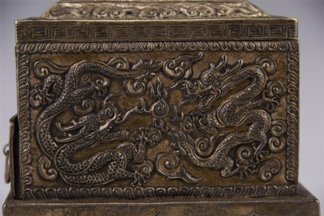 CHINESE SILVER CARVED DRAGON SQUARE INCENSE BOX - 5