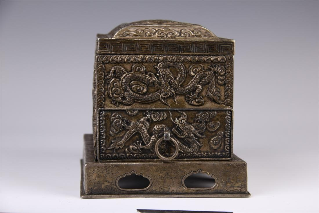 CHINESE SILVER CARVED DRAGON SQUARE INCENSE BOX - 6