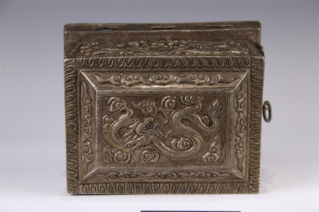 CHINESE SILVER CARVED DRAGON SQUARE INCENSE BOX - 8