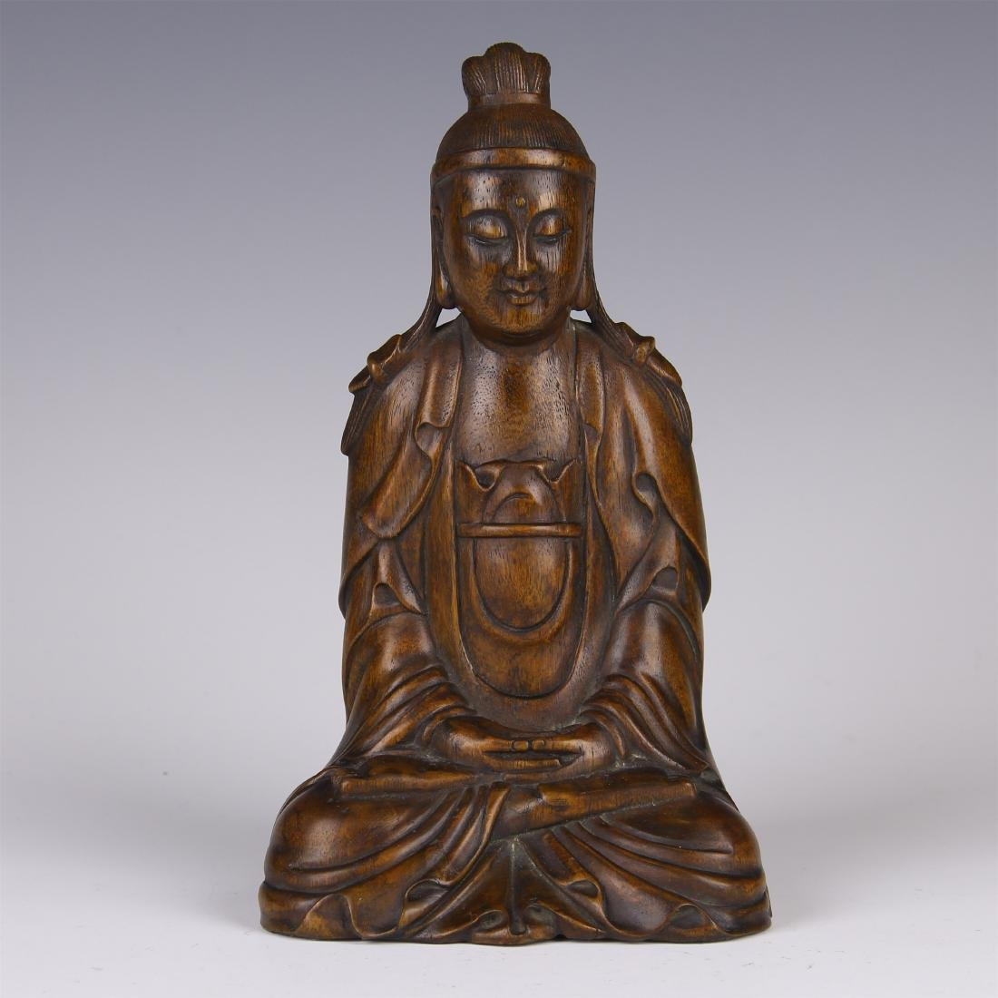 CHINESE AGALWOOD SEATED GUANYIN
