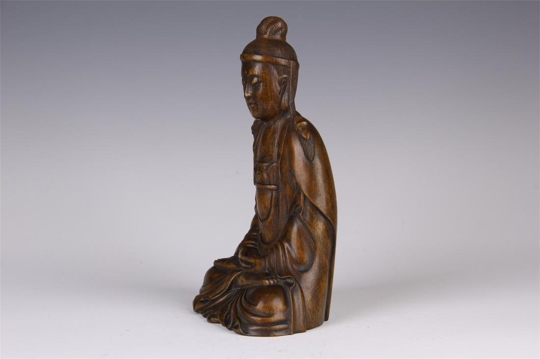 CHINESE AGALWOOD SEATED GUANYIN - 7