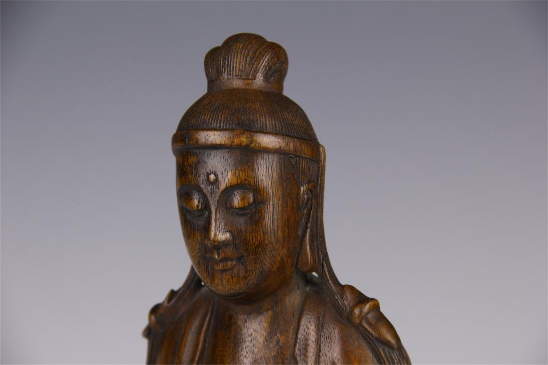CHINESE AGALWOOD SEATED GUANYIN - 9