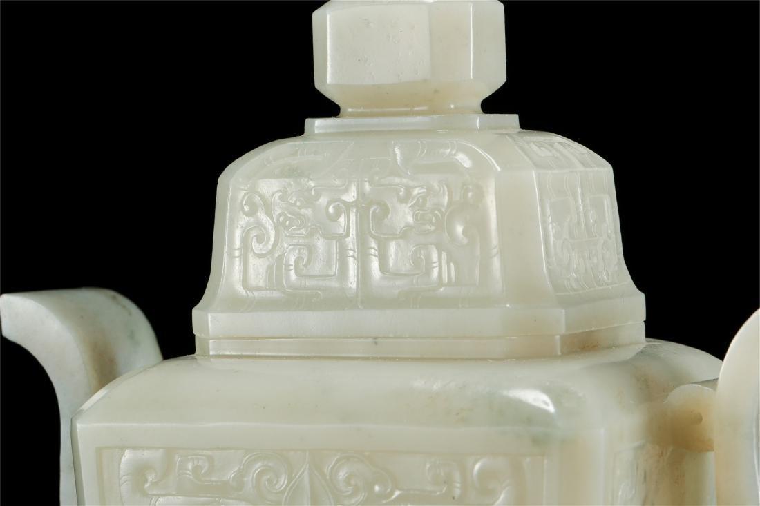 CHINESE WHITE JADE LIDDED VASE - 3
