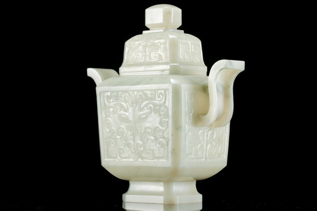 CHINESE WHITE JADE LIDDED VASE - 4
