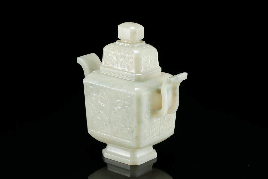 CHINESE WHITE JADE LIDDED VASE - 5