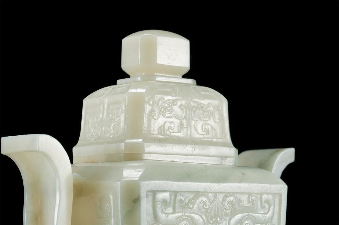CHINESE WHITE JADE LIDDED VASE - 6