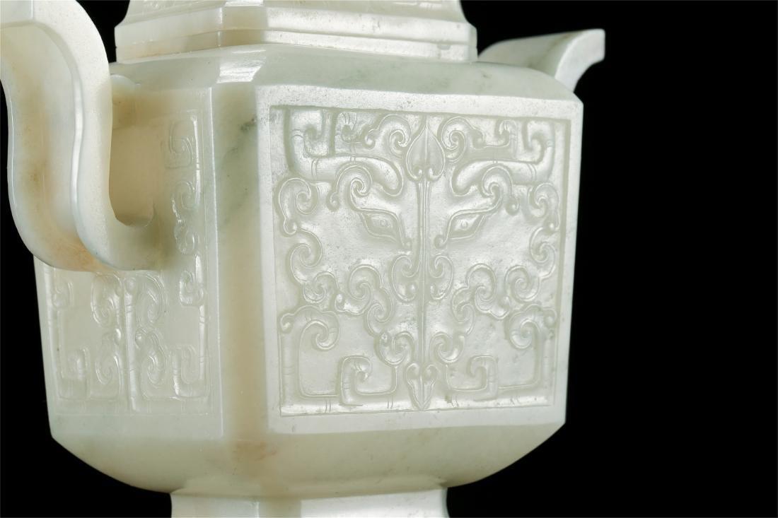 CHINESE WHITE JADE LIDDED VASE - 7