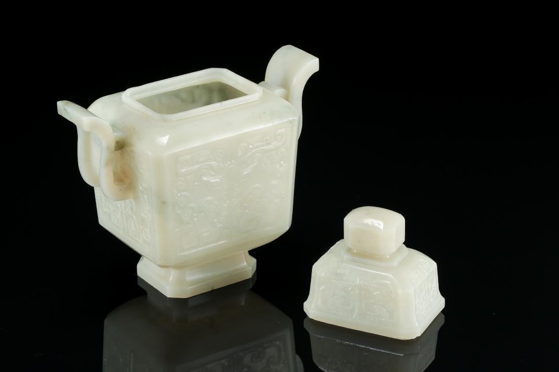 CHINESE WHITE JADE LIDDED VASE - 8