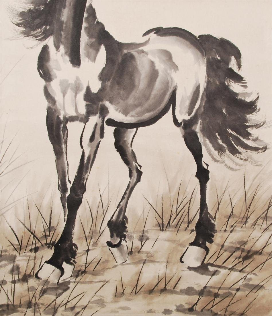 CHINESE SCROLL PAINTING OF HORSE - 5