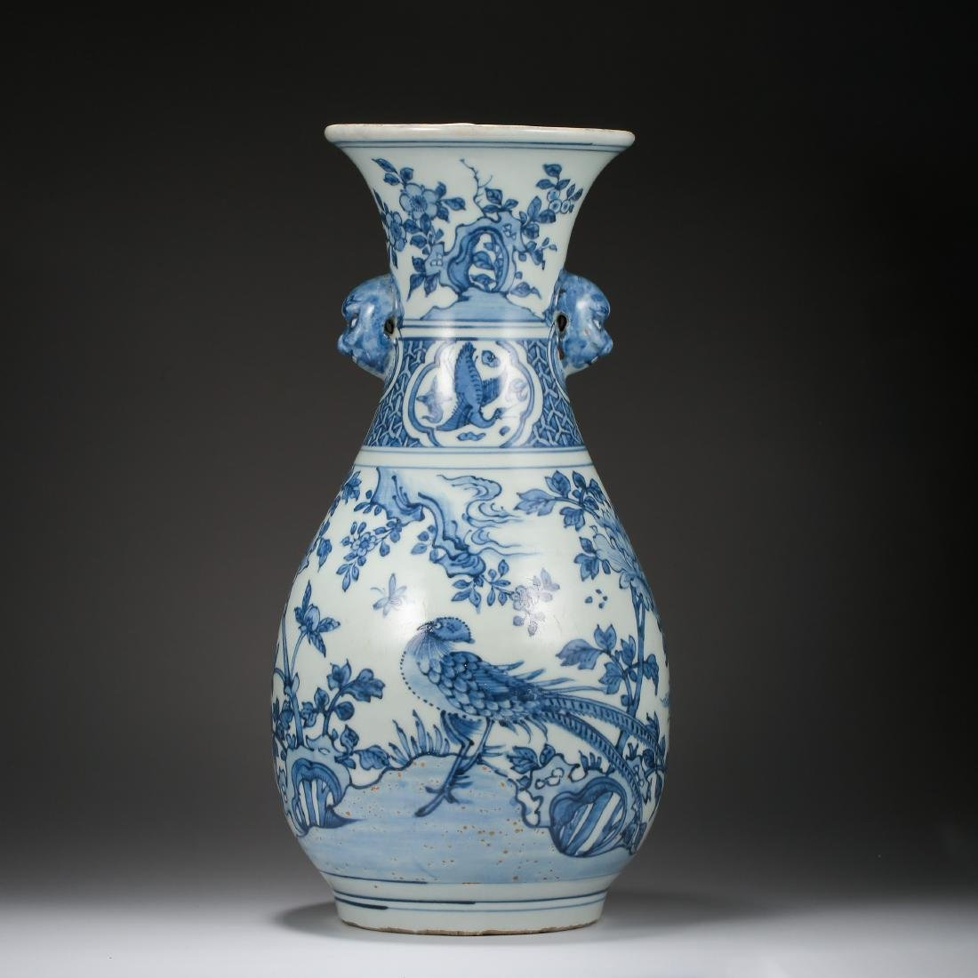 CHINESE PORCELAIN BLUE AND WHITE BIRD AND FLOWER VASE