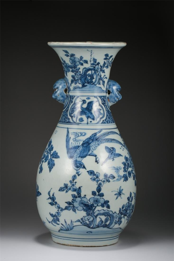 CHINESE PORCELAIN BLUE AND WHITE BIRD AND FLOWER VASE - 2