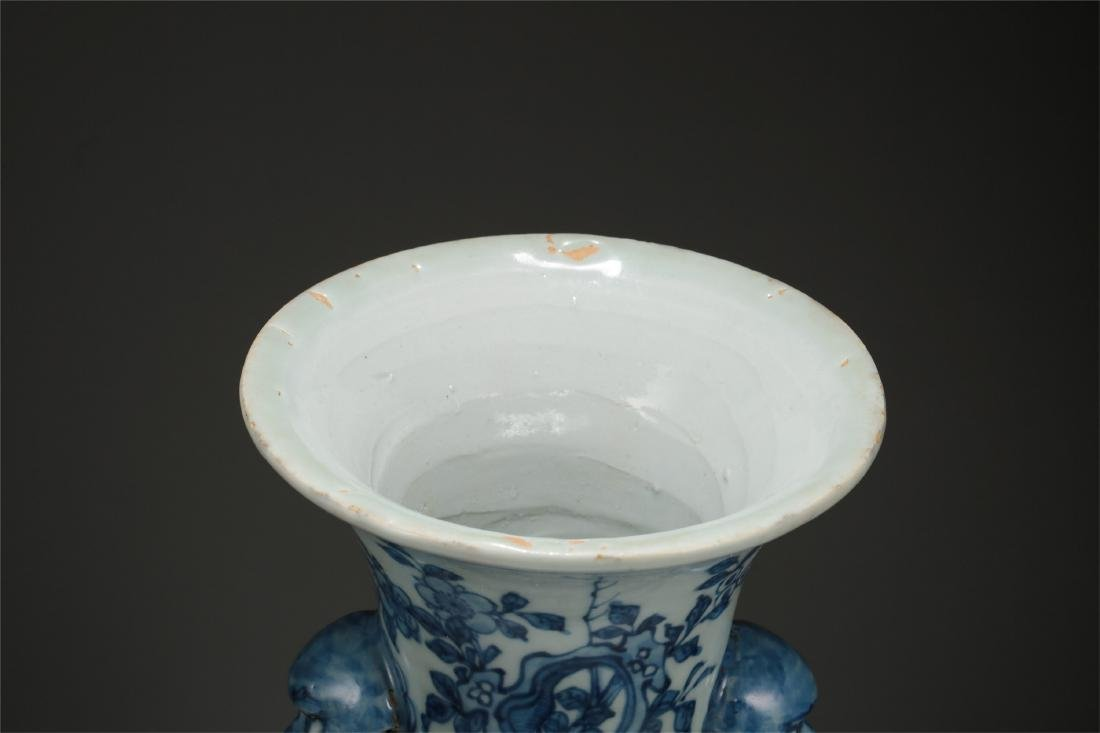 CHINESE PORCELAIN BLUE AND WHITE BIRD AND FLOWER VASE - 3