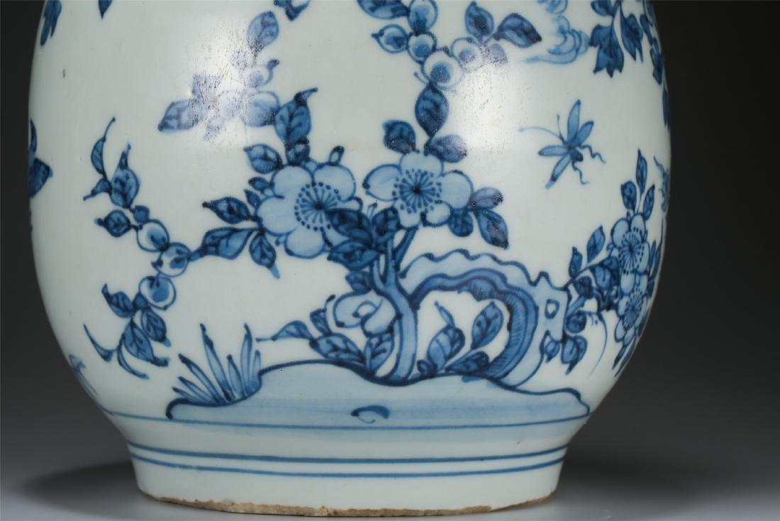 CHINESE PORCELAIN BLUE AND WHITE BIRD AND FLOWER VASE - 5