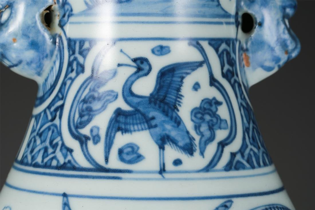 CHINESE PORCELAIN BLUE AND WHITE BIRD AND FLOWER VASE - 6