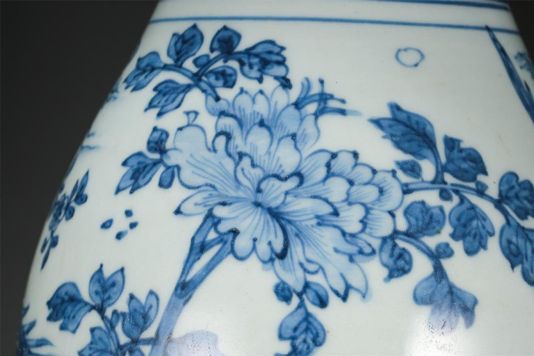 CHINESE PORCELAIN BLUE AND WHITE BIRD AND FLOWER VASE - 7