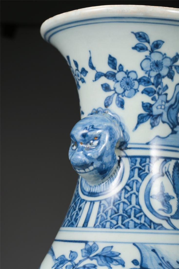 CHINESE PORCELAIN BLUE AND WHITE BIRD AND FLOWER VASE - 8
